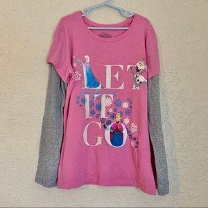 Girls FROZEN long sleeve tee size L